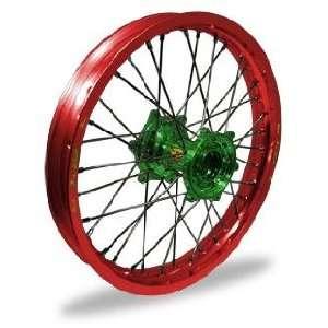 Pro Wheel MX Rear Wheel Set   19x2.15   Red Rim/Green Hub 24 45057 HUB
