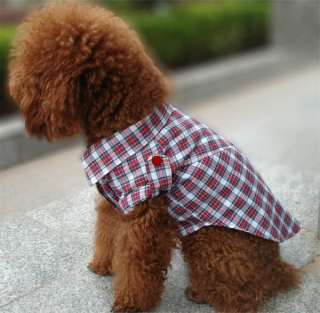 FORDOGS Pet Dog Clothes Check Red Shirt Puppy Costume Apparel
