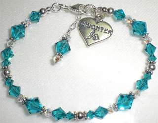 Daughter Sterling Silver Heart Charm Birthstone Crystal Bracelet 73