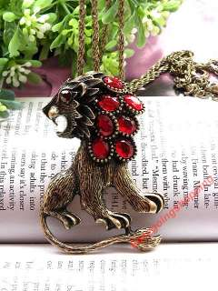 Pretty copper or silver red blue crystals lion pendant necklace