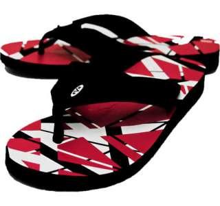 Eddie Van Halen Red White Flip Flops Sandals Size 8 9 10 11 12 13 EVH