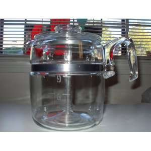 Vintage Pyrex Flameware Percolator 9 CUP Glass Coffee Pot