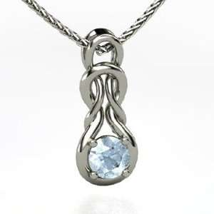 Forget Me Knot Pendant, Round Aquamarine 14K White Gold Necklace