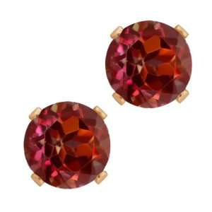 1.28 Ct Round Shape Red Rhodolite Garnet Rose Gold Plated