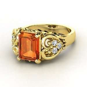 Emerald Heart Ring, Emerald Cut Fire Opal 14K Yellow Gold Ring