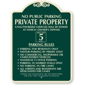 No Public Parking  Private Property Designer Signs, 24 x