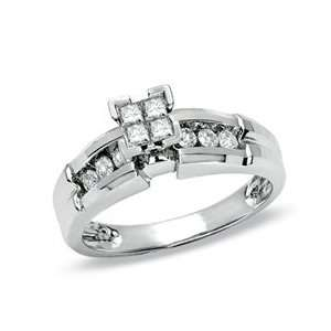 Gordons Jewelers Quad Princess Cut Diamond Ring in 14K White Gold 3/8