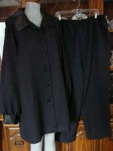 Long Black Shirt & Pants Suit Outfit Womens Plus Size 26W
