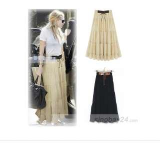 C92006 High Quality Womens Chiffon Pleated Long Skirt