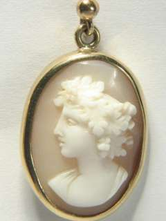 QUALITY ANTIQUE ENGLISH 9K GOLD HAND CARVED NATURAL SHELL CAMEO