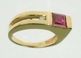 10K SOLID YELLOW GOLD RUBY DIAMOND GEMSTONE PINKY ESTATE RING J197245