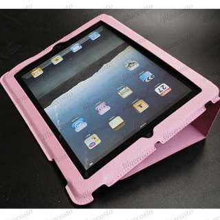 New Apple iPad 2 PU Leather Case With Stand PINK Cover