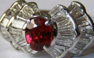 Unique 18k white gold ring with 1.5ct pigeon blood Ruby&2.64ct