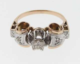 Antique Estate Genuine Diamonds Solid 14k Two Tone Gold Ring