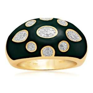 18k Gold Plated Sterling Silver Enamel Diamond Ring (1/6