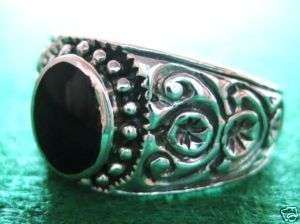 Mens Oval Black Onyx 925 Sterling Silver Ring Size 8.5