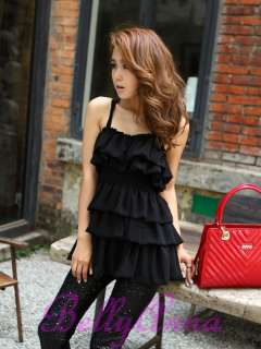 Elegant Women Empire Waist Tiered Layered Ruffle Blouse Clubwear Strap