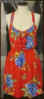 Womens Abercrombie Fallon Red Floral Sun Dress M NWT