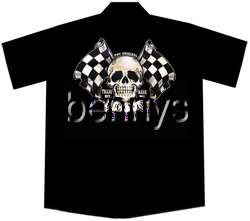 NEW Skull Flags Hot Rod Car Work Shirt, Lucky 13, XL