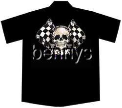 NEW Skull Flags Hot Rod Car Work Shirt, Lucky 13, XL