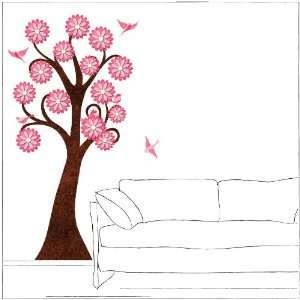 foot Pink Flowering Tree Wall Sticker and Birds for Girls Room