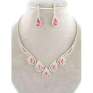 Fashion Jewelry ~ Rose Pink Crystal Gem Accented with