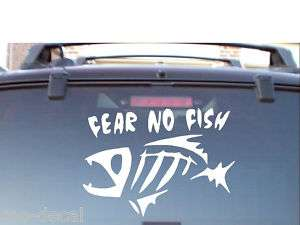 FEAR NO FISH VINYL CAR BOAT DECAL STICKER LARGE BASS