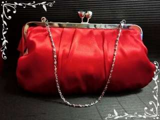 EP064   Satin 3D Red Rose Bridal Wedding Bag Evening Bag & Clutch