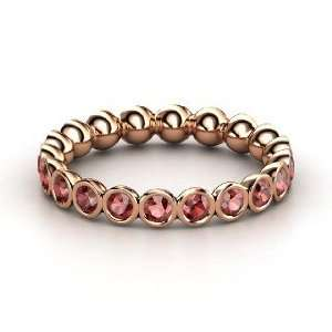 Pod Eternity Band, 14K Rose Gold Ring with Red Garnet
