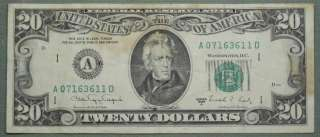 1988 A TWENTY DOLLAR FEDERAL RESERVE NOTE VF STAINED BOSTON 3611D