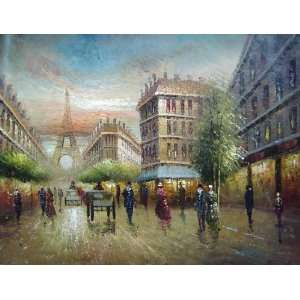 Paris Eiffel Tower Scene Oil Painting 36 x 48 inches Home & Kitchen