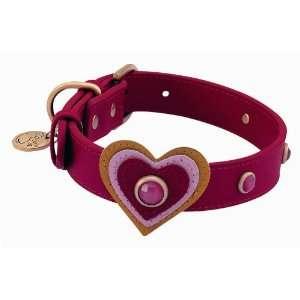 Pink Cat Eye Heart Leather Dog Collar   Medium