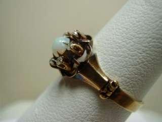 Vintage 10K Rose Gold Opal and Rose Cut Diamonds Ring