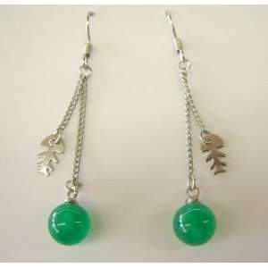 Fashion Jewelry ~ Round Jade Ball and Fish Drop Earrings