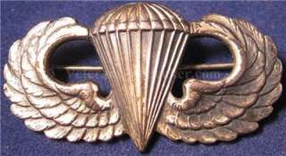WWII US ARMY PARATROOPER JUMP WINGS By JACK HELLER CIRCLE H STERLING