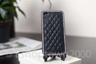 Black Luxury Bling Leather Chrome Crystals Hard Back Case Cover iPhone
