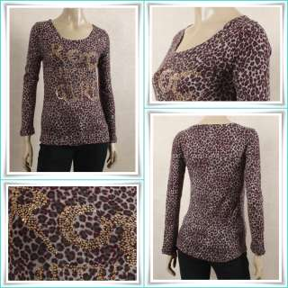 Women Leopard Print Slim Fit Studded T Shirt Size XS