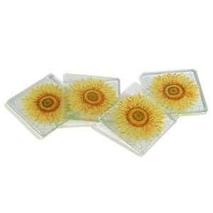 Peggy Karr Tuscany Handmade Art Glass Coasters, Set of