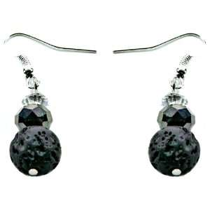 Ginas Originals Black Lava Rock & Crystal Accent Dangle