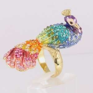 Multi color Peacock Ring 7# W/ Swarovski Crystals