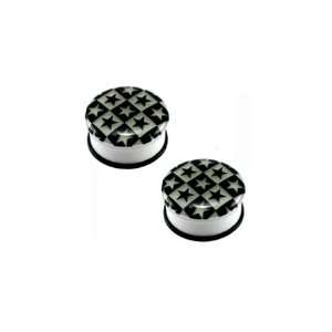 White Acrylic Single Flare Plugs with Glow in the Dark Checker Star