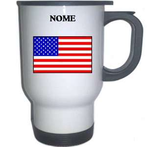 US Flag   Nome, Alaska (AK) White Stainless Steel Mug