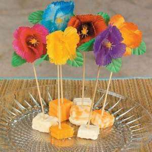144 Silk HIBISCUS FOOD PICKS Luau Tiki Hawaiian Party Bar Table