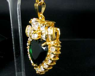 Heart Cut Green Emerald Yellow Gold GP Pendant Necklace