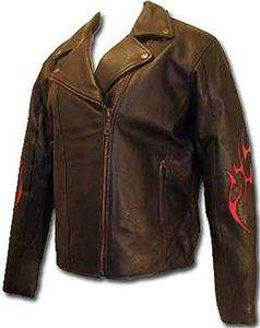 BIKESTAR Womens Motorcycle Leather Biker Jacket with Red Tribal Flame