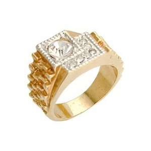 Mens Classic Line Clear Swarovski CrystalTwo Tone Ring