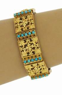 OPULENT 18K GOLD & TURQUOISE INTRICATE LADIES BRACELET