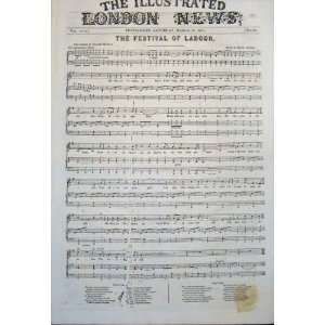 Music Score Festival Labour Mackay Russell Print 1851: