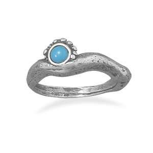 Oxidized Sterling Silver Ring With 4mm Created Turquoise