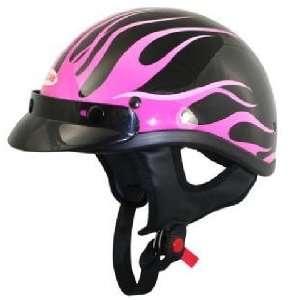 DOT Black Outlaw Pink Flames Half Motorcycle Helmet Sz S